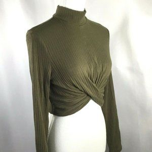 Shein~Twisted Front Cropped Top~Mock Neck~Ribbed